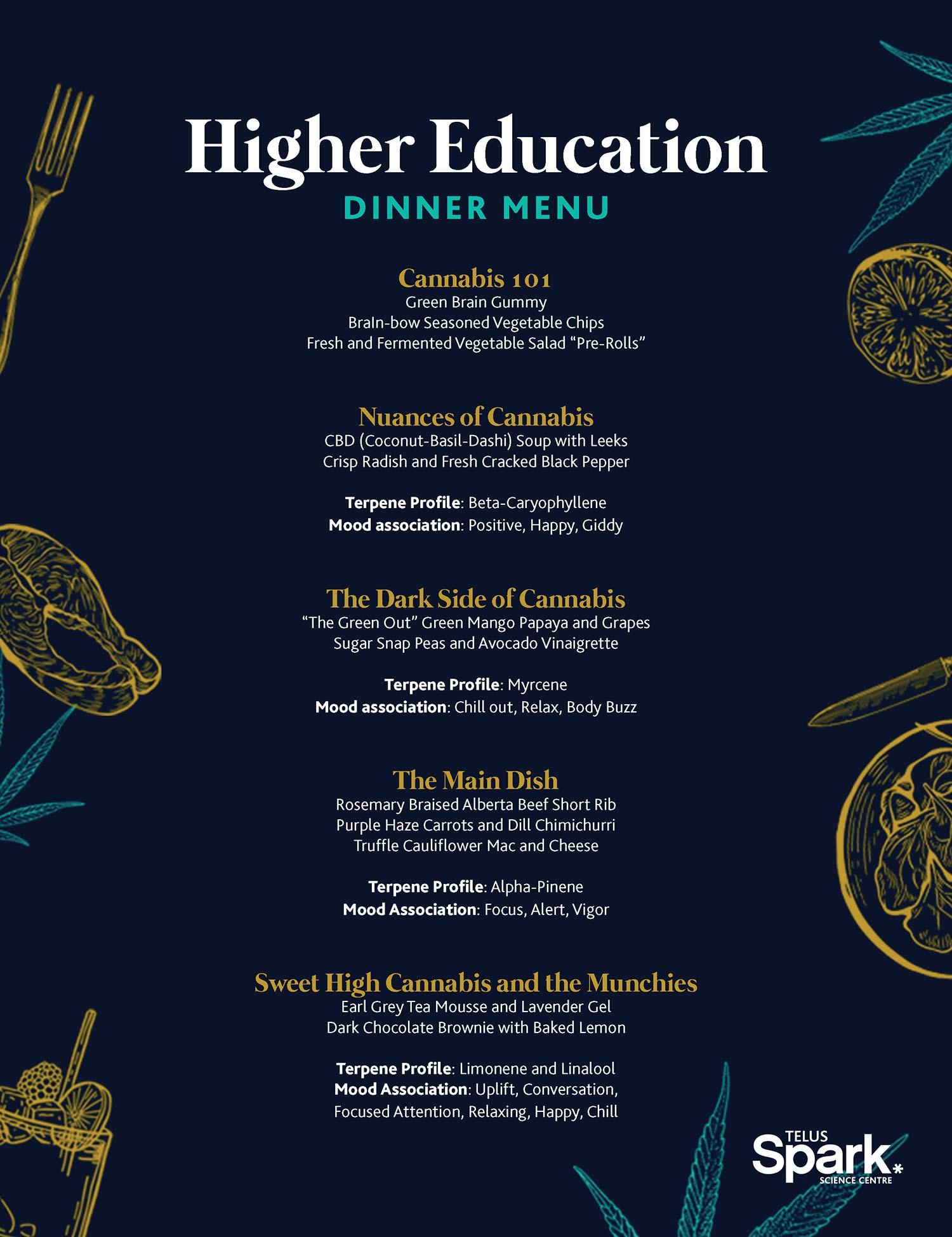 Higher Education Telus Spark Menu