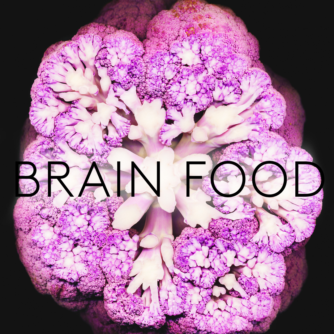 Purple Cauliflower with Brain Food Text