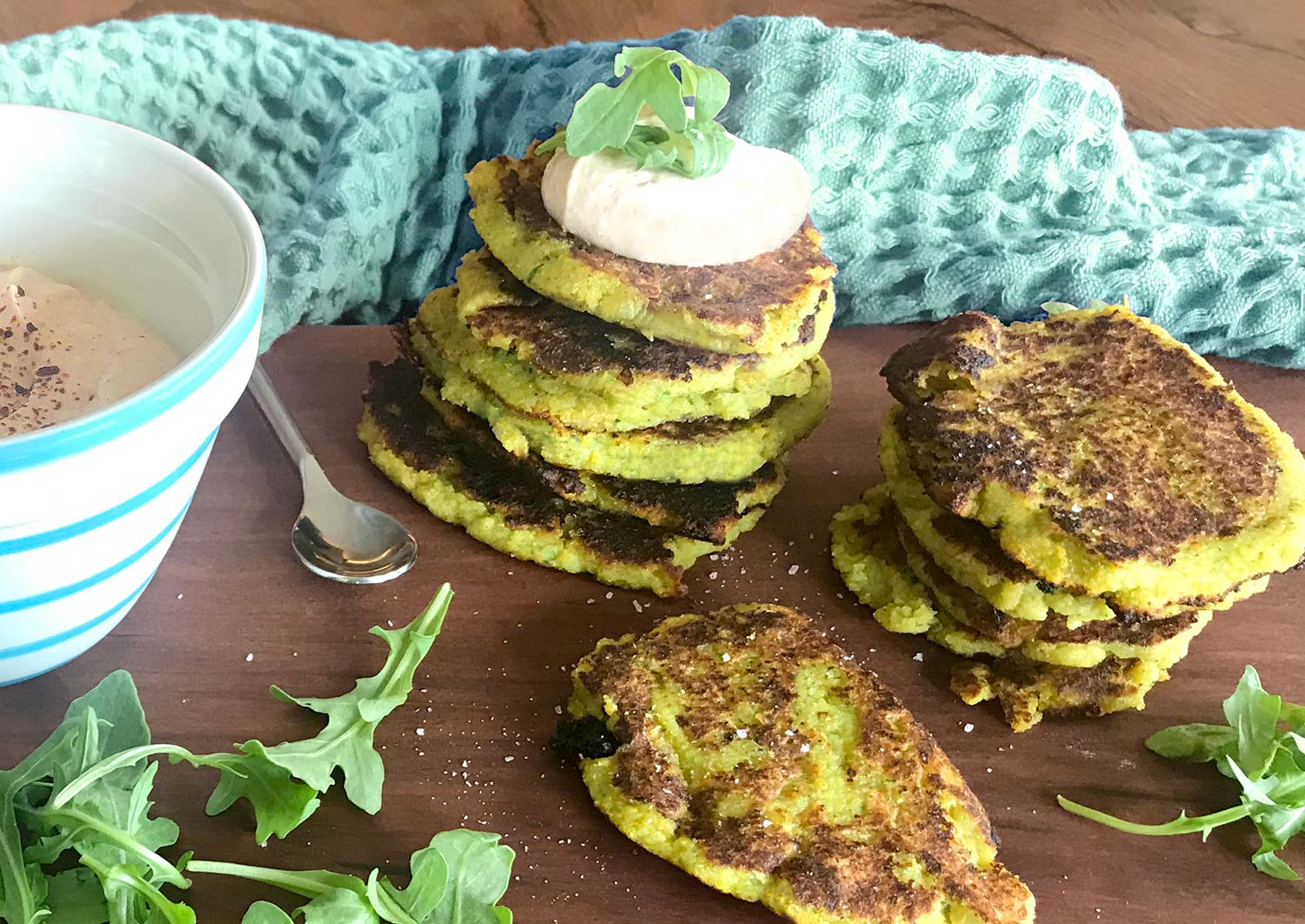 Zucchini Fritters with Chipotle Lime Dip