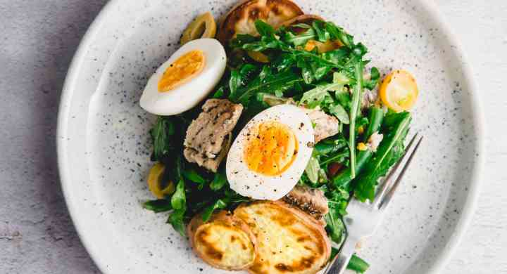 Salad with Egg, Green Beans, Sweet Potatoes