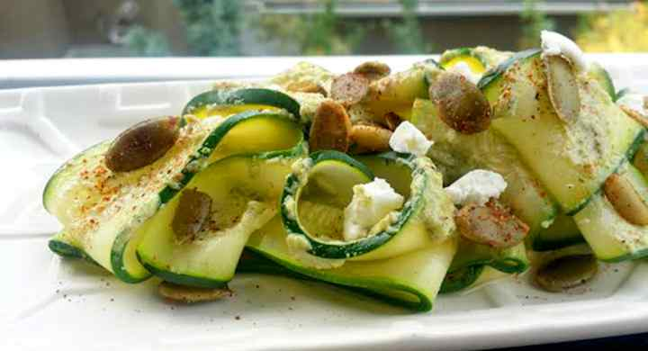 Raw Zucchini Ribbons with Pumpkin Seed Pesto