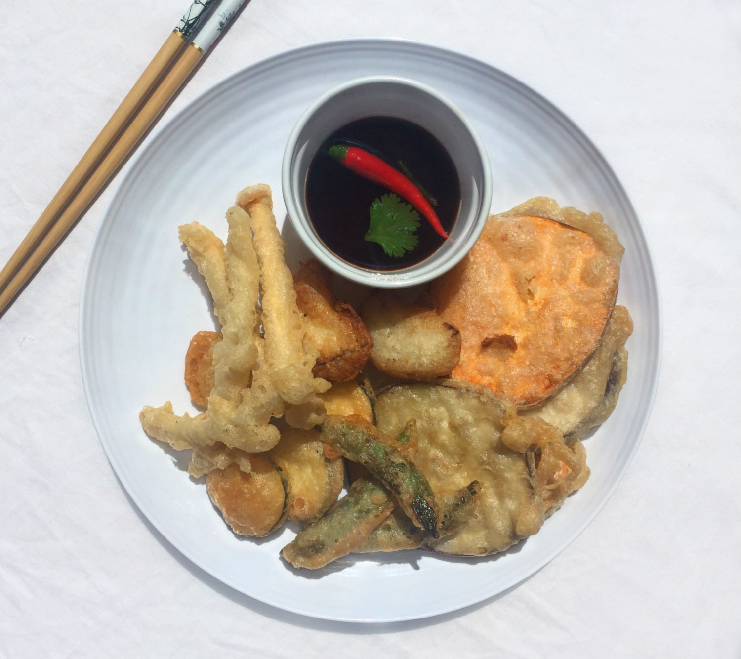 Vegetable Tempura With Ginger Garlic Dipping Sauce